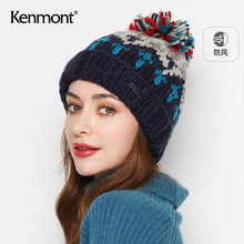 卡蒙日wi甜美加绒棉so耳针织帽女秋冬季可爱毛球保暖毛线帽