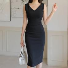 黑色V领连衣裙夏女wi6身显瘦收mr腰包臀一步裙子中长西装裙
