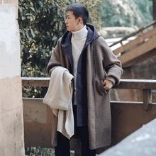 冬季假两件wi2厚羊羔毛ee式毛呢大衣男潮牌韩款宽松呢子外套
