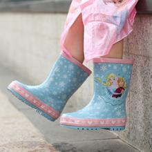 冰雪奇wi可爱宝宝女ee防水橡胶鞋水鞋雨鞋雨靴雨衣四季可穿