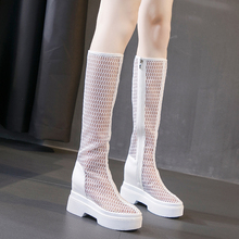 新式高wi网纱靴女(小)ee底内增高春秋百搭高筒凉靴透气网靴