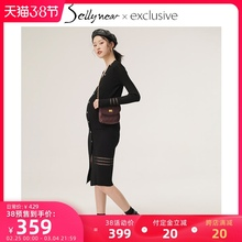 SELwiYNEARes装春秋时尚修身中长式V领针织连衣哺乳裙子