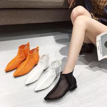 网纱镂空靴子wi3点短靴女es女鞋尖头真皮2020新款春夏瘦瘦靴