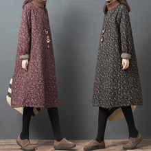 秋冬季wi式大码女装if加夹棉加厚高领(小)碎花中长式