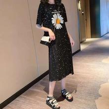 网红大wi女装连衣裙ms0夏季新式中长显瘦修身过膝女学生短袖裙子