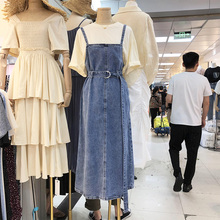 202wi秋季学院风hp仔连衣裙女韩款减龄中长式宽松显瘦背带裙潮