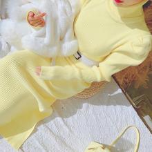 毛衣连wi裙女过膝中hp冬(小)个子高领纯色高腰收腰针织裙子仙