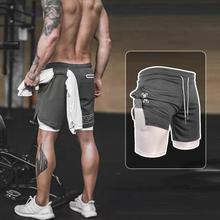 运动短wi男速干跑步na两件双层紧身五分裤足球篮球田径训练裤