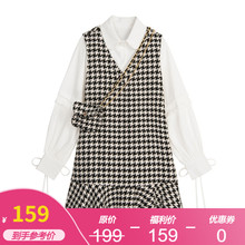 【15wi福利价】Var CHANG连衣裙套装女春长袖衬衫+毛呢背心鱼尾裙