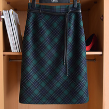 复古高wi羊毛包臀半ar伦格子过膝裙修身显瘦毛呢开叉H型半裙