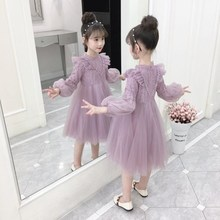 女童加wi连衣裙9十ar(小)学生8女孩蕾丝洋气公主裙子6-12岁礼服