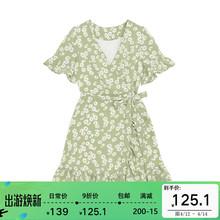 【9折wj欢价】(小)雏hw裙女夏装收腰显瘦V领(小)个子碎花雪纺短裙