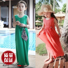 韩款夏wj古女童纯棉cw衣裙 宝宝波西米亚海边沙滩长裙 母女裙