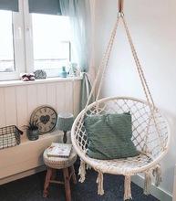 inswk欧风网红抖qc秋千编织吊椅吊篮 客厅室内家用宝宝房装饰