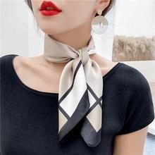 韩款新wk装饰印花丝hl(小)丝巾方巾春秋洋气时尚薄式领巾女