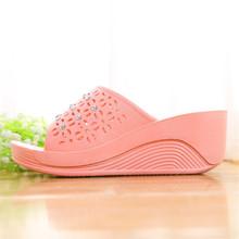 坡跟凉wl鞋女式厚底lr用增高外穿时尚夏季高跟凉拖鞋女防滑拖