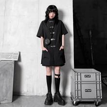 (小)雨家wl式中山领朋xm扣旗袍暗黑少女金属黑色衬衫宽松短袖