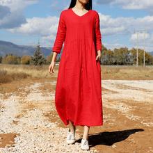 长袖红wl棉麻连衣裙pe高腰大码亚麻长裙中长式复古旅行文艺秋