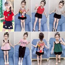 女童套wn夏季雪纺短zq韩款女孩衣服中大童女装洋气夏装两件套