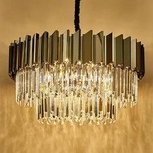 后现代wn奢水晶吊灯zx式创意时尚客厅主卧餐厅黑色圆形家用灯
