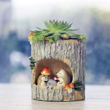 田园创wo卡通动物树fp肉植物花盆个性桌面多肉花器装饰(小)摆件