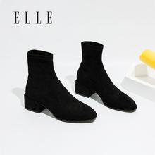 ELLwo加绒短靴女ey1春季新式单靴百搭瘦瘦靴弹力布马丁靴粗跟靴子