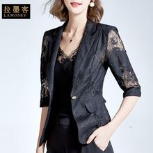 欧货西wo防晒外套女ng式蕾丝镂空黑色上衣高级感休闲西服外穿