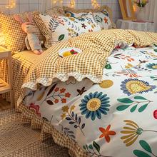 韩款床wo四件套磨毛ng网红公主风床单被罩1.8米2.0