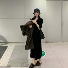 FFAwo泛泛 20ia装新式七分袖v领优雅气质年会(小)黑裙子