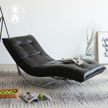北欧真wo懒的躺椅创ia卧室黑色不锈钢性冷淡民宿风可摇单沙发