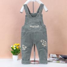 婴儿背wo裤春季0-er-3岁男宝宝弹力宽松可开裆长裤女童灯芯绒裤
