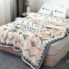 莎舍全wo毛巾被纯棉ql季双的纱布被子四层夏天盖毯空调毯单的