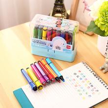 得力儿wo无毒带印章iu24色36色幼儿园(小)学生绘画笔套装