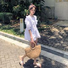 神装定wo 港风衬衫iu感(小)众甜美娃娃衫泡泡袖上衣女夏蓬蓬衫