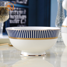 精美家wo金边骨瓷高ks碗面碗上档次陶瓷反口防烫菜碗汤碗