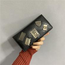 女士钱wo女长式复古ld0新式潮韩款个性青年多卡位钱夹子母包卡包