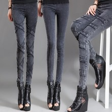 春秋冬wo牛仔裤(小)脚ld色中腰薄式显瘦弹力紧身外穿打底裤长裤