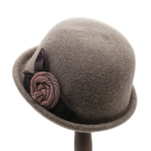 卷边复wo(小)礼帽女时th羊毛呢帽韩款百搭冬季帽子女秋冬女帽子