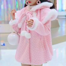 仿水貂wo毛呢外套女lz篷连帽兔毛边(小)个子甜美公主风呢子大衣