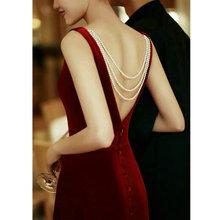 新娘敬wo服秋红色复lz气质长袖订婚宴会晚礼服(小)个子连衣裙女