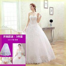 礼服显wo定制(小)个子es门显高大肚新式连衣裙白色轻薄高端旅拍
