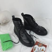 202wo夏季马丁靴an学生黑色短靴女英伦风薄式机车靴百搭复古潮