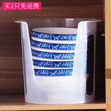 日本Swq大号塑料碗ov沥水碗碟收纳架抗菌防震收纳餐具架