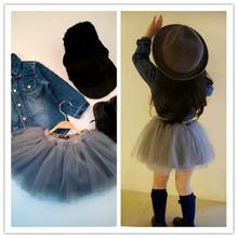 女童蓬蓬裙半wr裙宝宝纱裙bj021春秋韩款短裙子公主裙黑灰包邮