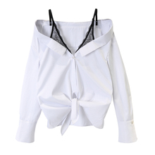 (小)宸 wr丝吊带衬衫te假两件性感露肩打结宽松条纹衬衫女装衬衣