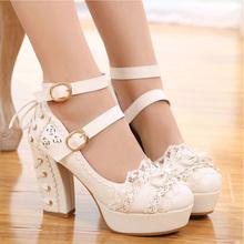 lolwrta高跟鞋te美公主日系粉色单鞋女茶会式蕾丝蝴蝶结花嫁鞋