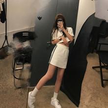 王少女wr店 短袖ttt裙 2020新式夏宽松韩款黑白色短裙子套装