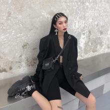 鬼姐姐wr色(小)西装女yy新式中长式chic复古港风宽松西服外套潮