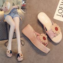 仙女风ws拖女厚底夏zk0新式时尚高跟拖鞋女士外穿增高坡跟的字拖