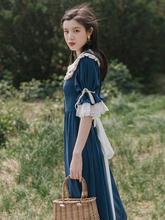 夏季2wu21式女法ou复古少女连衣裙女夏裙子仙女超仙森系学生
